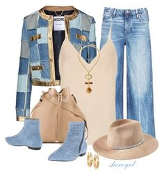 Denim Jacket Contest by sherryvl on Polyvore featuring мода, Raey, Moschino, Tortoise, Vic, Alexander Wang, Jose & Maria Barrera, Signature Gold and Eugenia Kim