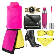 """""""Pink + Yellow"""" by cherieaustin ❤ liked on Polyvore featuring FAUSTO PUGLISI, MSGM, Proenza Schouler, Givenchy, Christian Louboutin and Rolex"""