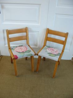 Perfect for Gabs new room! PAIR of Vintage Children Shabby Wood Flower Pink by vintagejane, $68.00