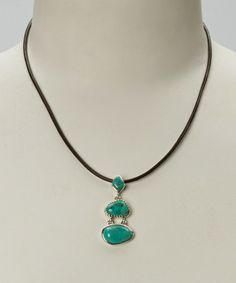 Look what I found on #zulily! Turquoise & Sterling Silver Triple Stone Pendant Necklace #zulilyfinds
