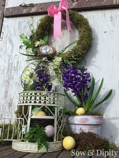 bird cage Easter Planter with easy moss wreath