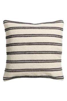 Jacquardvevd putetrekk - Hvit/Stripet - Home All H&m Fashion, Deco, Throw Pillows, Zip, Canvas, Living Rooms, Interior, Black And White Cushions, Cushion Covers