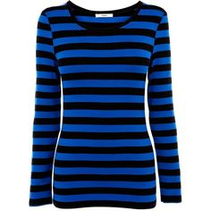 Oasis Stripe zip detail ls tee ($23) ❤ liked on Polyvore featuring tops, shirts, blusas, long sleeves, blue, women, stripe top, striped shirt, crew neck shirt and oasis shirt
