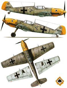 Messerschmitt Bf 109E4 Stab III.JG53 (+I Erich Schmidt Etaples France Nov 1940