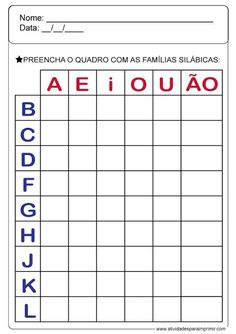 Família Silábica Primary School, Pre School, Speech Language Therapy, Letters And Numbers, Learning Spanish, Teaching Tools, Preschool Activities, Homeschool, Classroom
