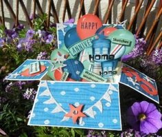 PENNY TOKENS STAMPIN SPOT: Wacky Watercooler Blog Hop - 3rd Anniversary Celebration  This is a rectangular box card.  Fun to make!  http://pennytokensstampinspot.blogspot.ca/2016/07/wacky-watercooler-blog-hop-3rd.html