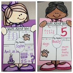 The 2 Teaching Divas: Math About Me!!  Very cute, hands-on craftivity just right for back to school! Learn all about your new students and the math in their lives! Makes a very cute display and covers a variety of standards! Inside this pack there are 4 different Math about Me pages (ranging from easy to more difficult) and 9 different kids to choose from.