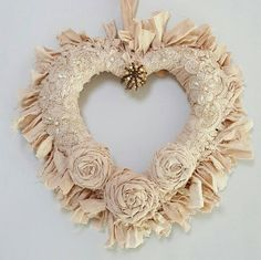 ************* This is an original design created by chiclaceandpearls************  This listing is for One Rattan Heart Rag Wreath which