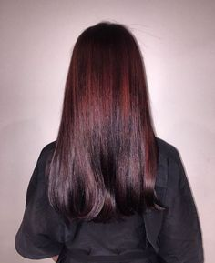 So shiny! We love this black cherry Aveda hair color from Dolce Lusso Salon. Aveda hair color formula in comments.