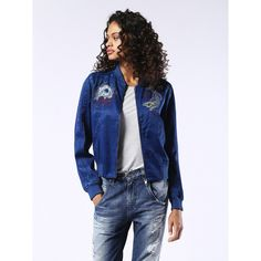 Diesel G-ASY-C Jackets (£270) ❤ liked on Polyvore featuring outerwear, jackets, blue, women, skeleton jacket, blue jackets, bomber jacket, diesel jacket and embroidered bomber jacket