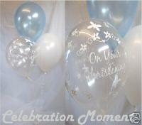 Got to have balloons . Christening Balloons, Christening Decorations, Baby Boy Christening, Baby Kit, Boy Decor, Balloon Decorations, Party Supplies, Christmas Bulbs, Boy Blue