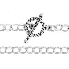 """Sterling Silver 4.2mm Parallel Double Curb Chain with Toggle and Bar 7 1/2"""""""