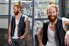 Man bun, leather and red hair?! Love.