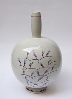 Vase design by Ugo La Pietra, made by historic Bottega Gatti workshop from Faenza (RA) in 2009 for the anthologic exhibition of Ugo La Pietra's ceramic projects in MIC Museo Internazionale delle Ceramiche di Faenza.    Ceramic. Height 30 cm. Limited edition. Signed and painted by designer.