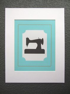Cute Vintage Sewing Machine Print for a craft room
