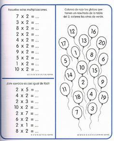 Colorinets: Examen tablas de multiplicar (2,3,4 y 5) y restas llevando