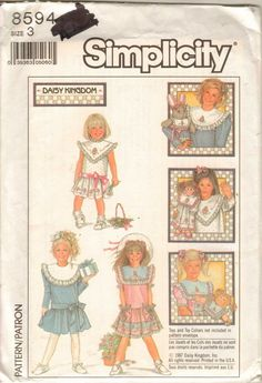 Simplicity 8594 Pattern Daisy Kingdom Toddler Girls Dress Collars Uncut Size 3 #Simplicity
