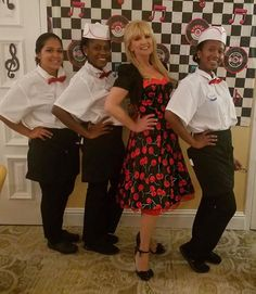 Chrome Band vocalist, Kathy with waitresses at recent sock hop event. Grease Theme, 50s Rockabilly, Sock Hop, Back To The Future, Vintage Costumes, Corporate Events, Orlando, Party Themes, Charity