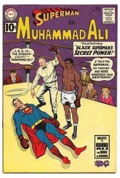 If Superman had fought Muhammad Ali in the instead of in Superman Comic, Black Superman, Batman, Vintage Comic Books, Vintage Comics, Comic Books Art, Dc Comics, Black Comics, Comic Book Covers