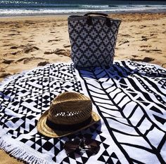 Beach Styling with Le Grand Tote in Black/Ivory by Dash & Albert - available through Blake & Taylor, Paddington QLD - Ginger Moon, Bowral NSW - Central Park Furnishings, Malvern VIC Tablecloth Diy, Indian Mandala, Dash And Albert, Couch Covers, Beach Blanket, Indoor Outdoor Rugs, Saturday Night, Central Park, Ivory