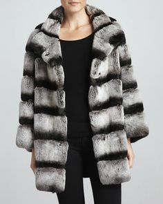 Striped Rabbit Fur Swing Coat by Jo Peters at Neiman Marcus.