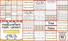 Measurement Math Center, Games, Worksheets for grades 4-6! Includes: True or False? A measurement sorting activity; Zap It! Convert It! A measurement game; Measurement Foldables: Customary and Metric foldables for measurement equivalency; Roll and Answer! A measurement activity. Can't wait for my fifth graders to have fun with these centers!