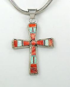 Native American Indian Jewelry; Navajo Sterling Silver spiny oyster opal cross pendant