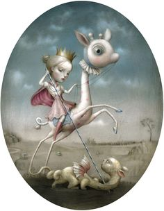 'Gio Copia' by Nicoletta Ceccoli. Find out more about Nicoletta and see more of her intriguing art in her interview at wowxwow.com. (painting, narrative, story, innocence, childhood, maturity, dreams, macabre, mystery, symbolism)