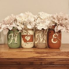 Montana Home Mason jars | rustic home decor | sage, ivory, tan and orange