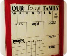 DIY Dry Erase Glass Calendar from SomeWhatSimple.com #diy #calendar