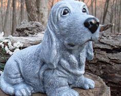 Basset Hound Statue ,Beagle Statue, Hound Dog Statue, Hunting Dog Statue    Coon Dog Sculpture, Outdoor Garden Statue Cast Concrete