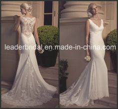 33ad644cbbf V-Neck Bridal Wedding Gown Vestidos Sheer Back Lace Wedding Dress Cab2186  on Made-