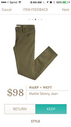 Warp+Weft Mattie Skinny jean. I love Stitch Fix! A personalized styling service and it's amazing!! Simply fill out a style profile with sizing and preferences. Then your very own stylist selects 5 pieces to send to you to try out at home. Keep what you love and return what you don't. Only a $20 fee which is also applied to anything you keep. Plus, if you keep all 5 pieces you get 25% off! Free shipping both ways. Schedule your first fix using the link below! #stitchfix @stitchfix. Stitchfix…