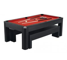 Hathaway Park Avenue 7' Pool Table Set With Benches & Top