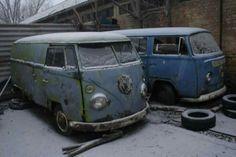 2 abandoned VW vans