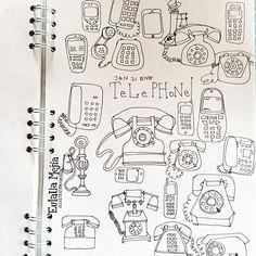Last day!!! Último día! #cbdrawaday #creativebug #lisacongdonclass #draweveryday #drawdaily #sketchbook #sketch #handdrawn #pensketch #telephone