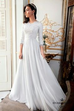 Long sleeeves modest wedding gown