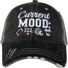 Current Mood  Football distressed trucker cap with embroidery 455baef8698d