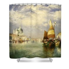 Landscapes Shower Curtains - Venetian Grand Canal Shower Curtain by Thomas Moran