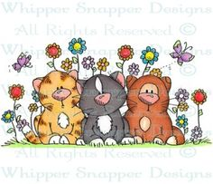 Triple Threat Kittens - Cats - Animals - Rubber Stamps - Shop