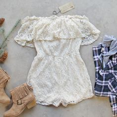 Juniper Lace Romper (with the Portland Plaid Hoodie), Gorgeous Lace Rompers & Dresses from Spool 72. | Spool No.72