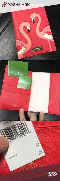 NWT Kate Spade passport cover wallet Flamingos Talk a walk on the wild side Flamingo passport holder / travel wallet Leather   New with tags Retail $79.00 - my price is firm. Will sell for $46 on Ⓜ️ercari kate spade Bags Wallets