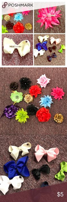 NWT MAKE YOUR OWN BUNDLE Flower & Bow Hairpins Brand new! Mix & match hairpins/pins in flowers & bows. Flowers have 3 options: elastic, jaw clip, and brooch pin, and the bows are all jaw clips - see images of backs in first picture. Some flowers I have multiple in the same color, right now I have multiples of all colors of bows! Bows come in 2 sizes: Ivory, Royal Blue, Black, White & Pink and large & Neon Green, Black and Navy are mini. $1 EACH, 5 ITEM MINIMUM: price only negotiable if…