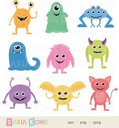 Cute Monsters Clip Art Set-clip art for children by dariakonik