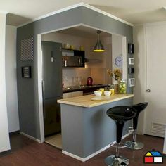 Having limited space in an apartment doesn't mean you don't deserve a nice kitchen. See what a small kitchen design is all about. kitchen ideas A Guide to Efficient Small Kitchen Design for Apartment Small Space Kitchen, Compact Kitchen, Mini Kitchen, Kitchen Sets, Home Decor Kitchen, Kitchen Interior, New Kitchen, Kitchen Modern, Kitchen Corner