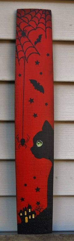 Hand painted barrel stave. Halloween, All Hallows Eve, Trick or Treat, Black Cat, Bat, Cauldron, Cobwebs, Candle, Goblin, Ghost, Ghouls, Grim Reaper, Grave Keeper, Raven, Skull, Spiders, Scarecrow, Skeleton, Vampire, Witch, Jack-O-Lantern, Pumpkin, Spooky, Spells, Scary, Haunted House, Haunting, Creepy, Frightening, Full Moon, Autumn, Fall, Magic Potion