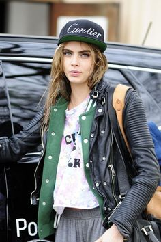 Cara Delevingne- This outfit screams badass once again. Especially the hat lol.