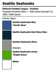 Seattle Seahawks Colors