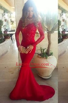 2016 Prom Dresses Mermaid/Trumpet Spandex With Applique Sweep Train Red
