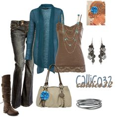 Browns and blues, created by callico32 on Polyvore